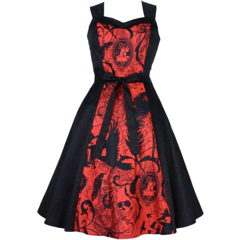 Women's Hemet Red Steampunk Inspired Dress Retro Vintage Skulls Cameos Ravens