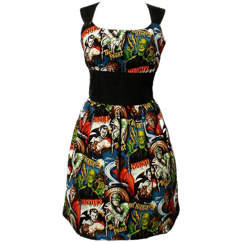 Women's Hemet Riding Shotgun Horror Monsters Dress Frankenstein Dracula Mummy