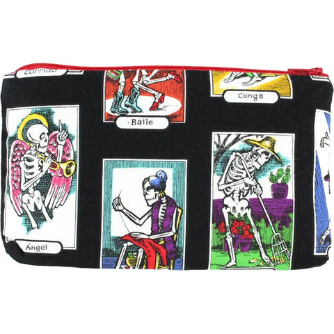 Women's Hemet Skeletons Wallet/Makeup Bag Black Day of the Dead