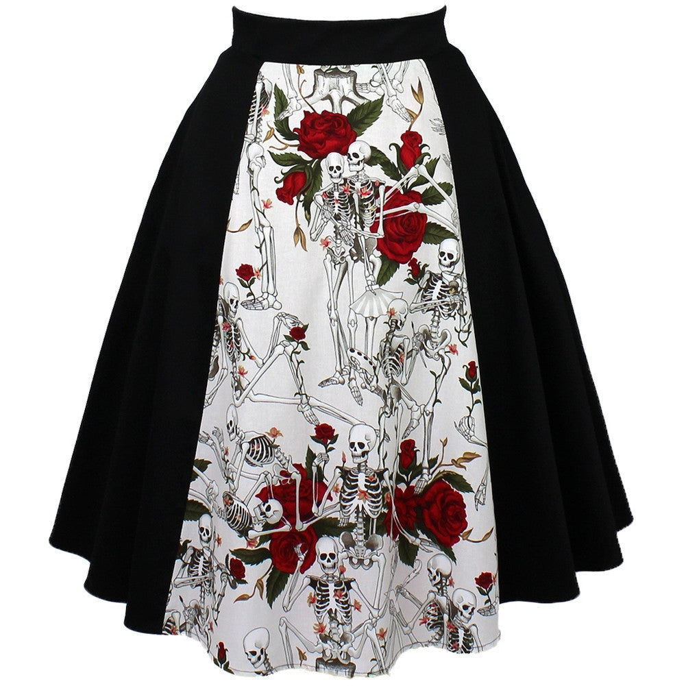 Women's Hemet Skulls And Roses Full Circle Skirt Skeletons Rockabilly