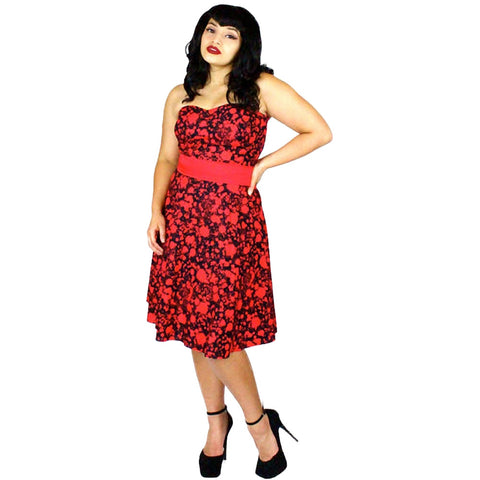 Women's Hemet Strapless Psychobilly Blood Splatter Zombie Dress Red/Black Horror