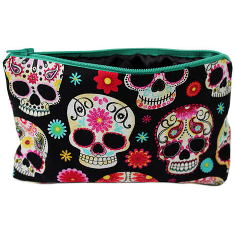 Women's Hemet Sugar Skulls Wallet/Makeup Bag Black Day of the Dead