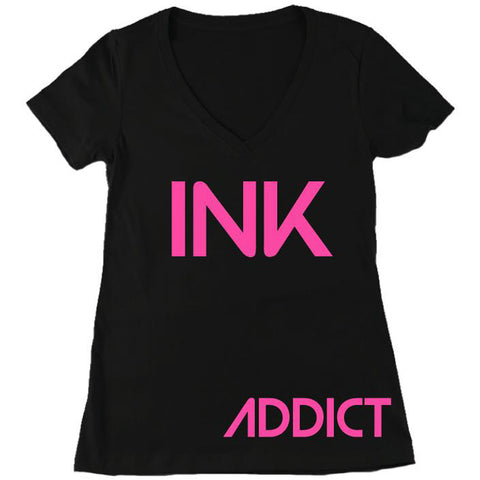 Women's InkAddict INK V-Neck T-Shirt Black/Pink Tattoo Tattooed Inked