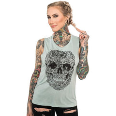 Women's InkAddict Junglow Folwy Muscle Tank Top Dusty Blue Jungle Skull