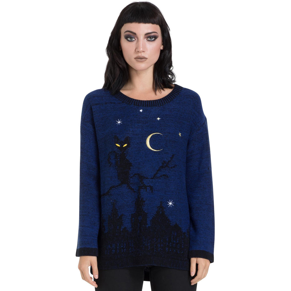 Women's Jawbreaker Cat In A Tree Sweater Blue Moon