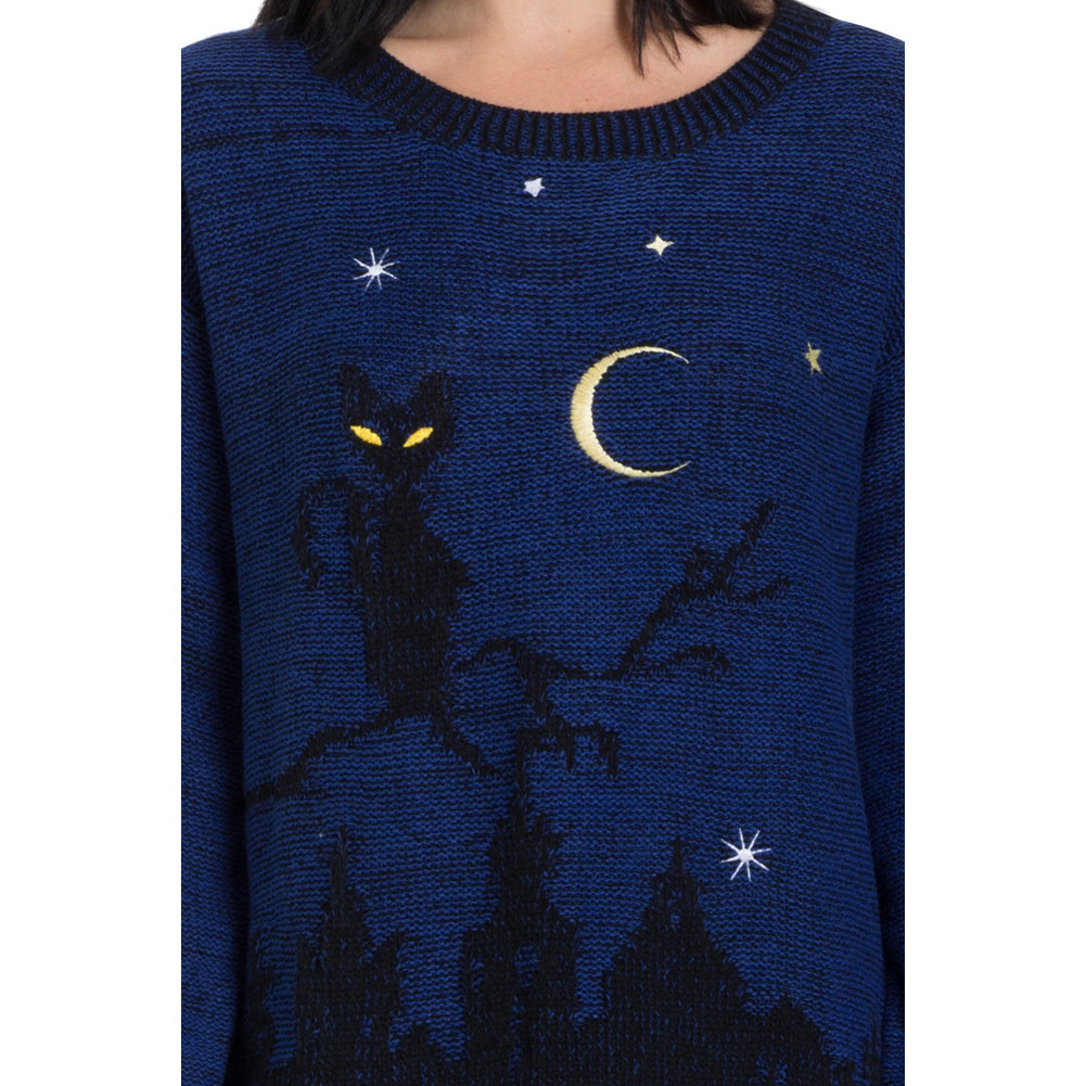 Women's Jawbreaker Cat In A Tree Sweater Blue