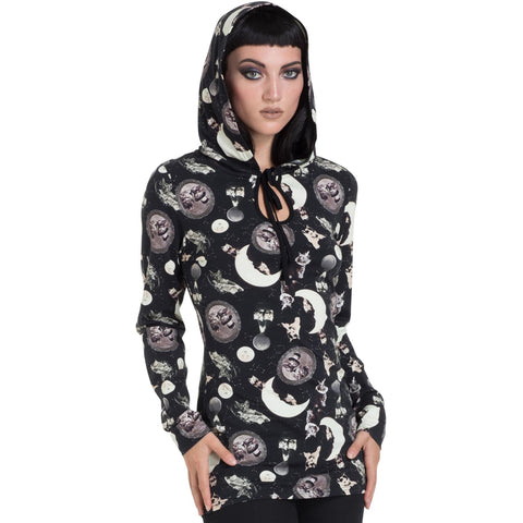 Women's Jawbreaker Catstellation Pull Over Hooded Top Black Cats Moons Goth