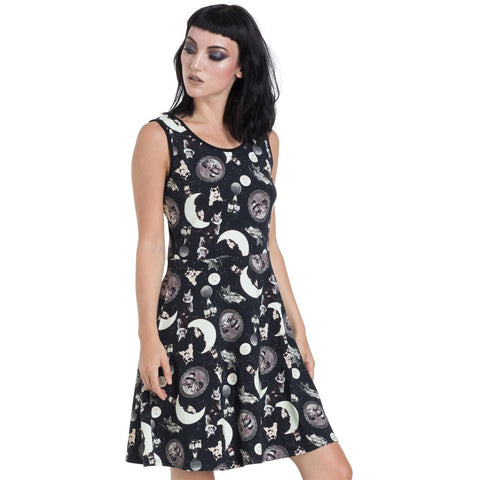 Jawbreaker Catstellation Skater Dress Black Longsleeve Goth Cats Moons