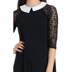 Jawbreaker Collar Skater Dress Black Wednesday Goth