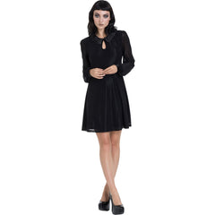 Jawbreaker Dotted Mesh Little Black Wednesday Dress Black Longsleeve Goth