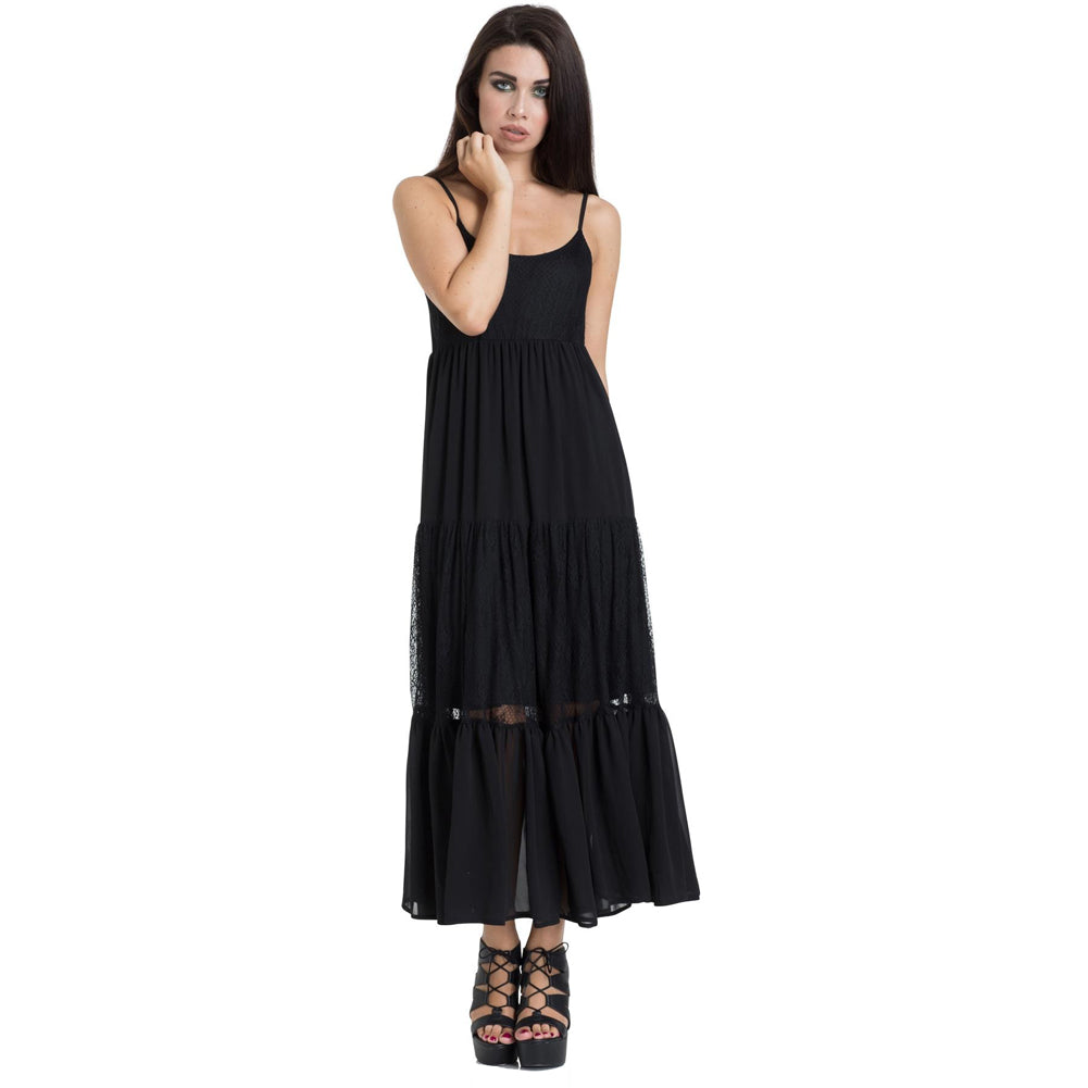 Jawbreaker Formal Lace Maxi Dress Black Ruffle Goth