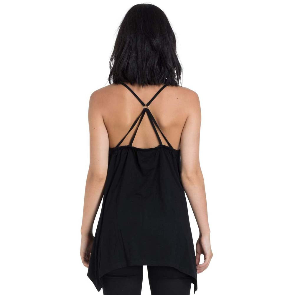 Women's Jawbreaker Gemini Skull Strappy Top Black