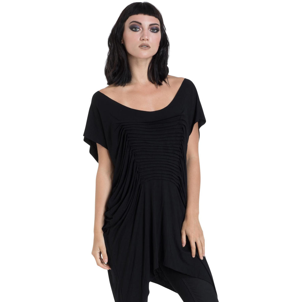 Women's Jawbreaker Jersey Pleat Front Top Black Goth