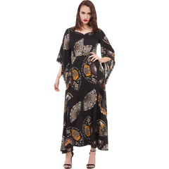 Jawbreaker Leathal Fan Dance Maxi Dress Black Flowy