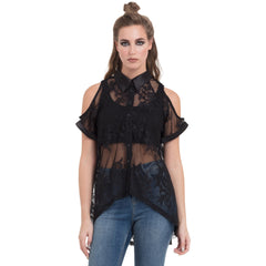 Women's Jawbreaker Paisley Lace Group Top Black Goth