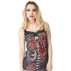 Women's Jawbreaker Ribs & Roses Cami Top Skull Lace Back Black Skeleton Bones