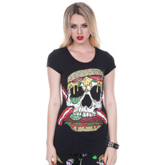 Women's Jawbreaker Skull Burger T-shirt Food Punk