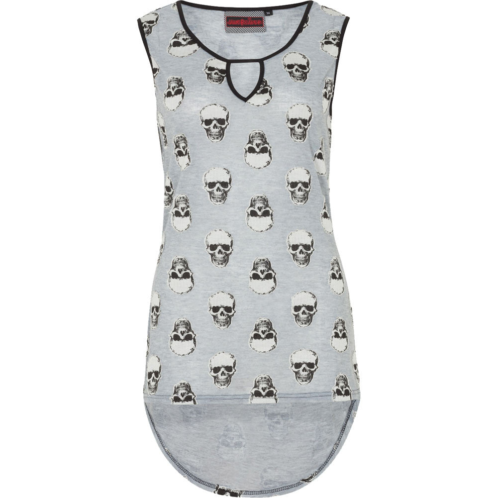 Women's Jawbreaker Skull Top Grey Punk