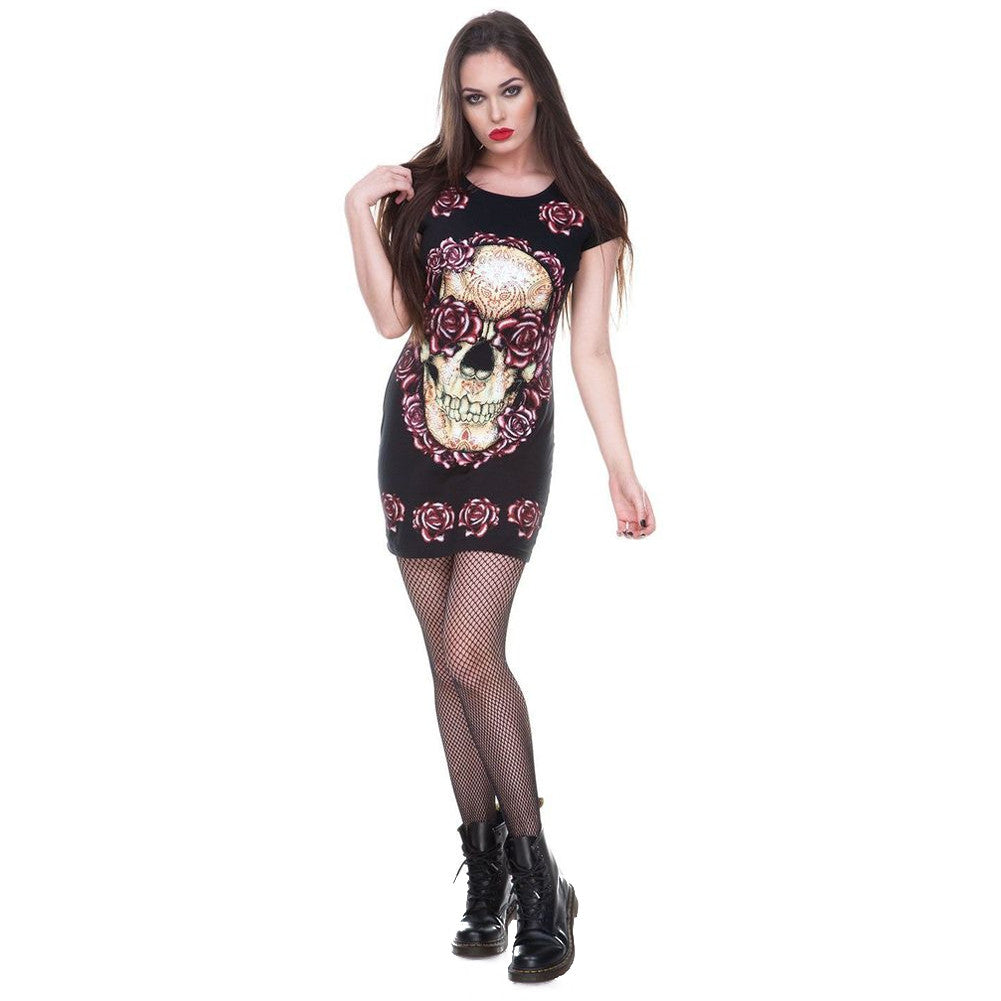 Women's Jawbreaker Skulls And Roses T-Shirt Dress Black Day of the Dead Tattoo