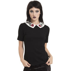 Women's Jawbreaker Sleeping Beauty Collar Shirt Goth Roses Wednesday Inspired