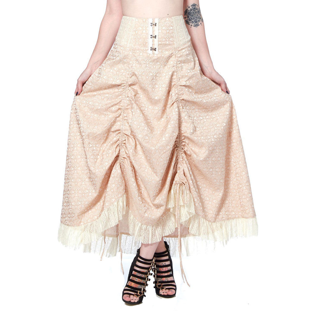 Women's Jawbreaker Steampunk Brocade Adjustable Hemline Skirt Cream Vintage