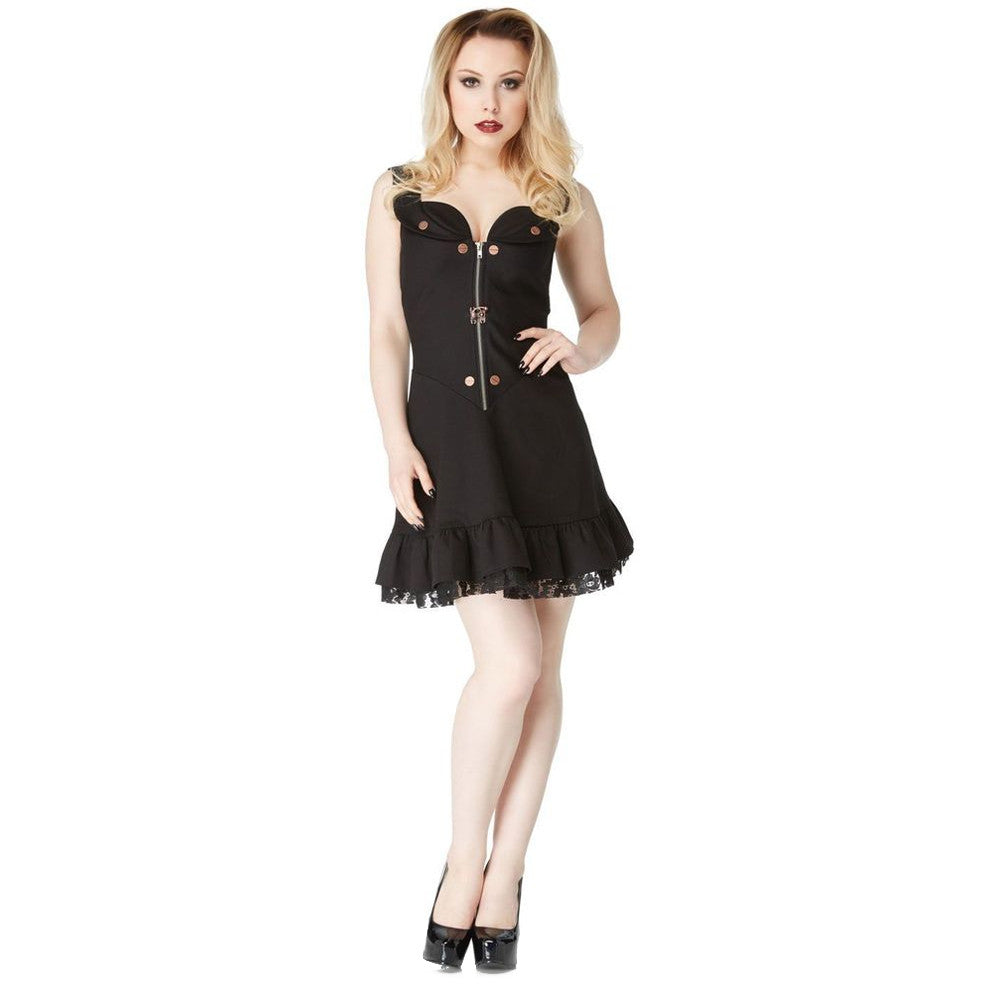 Women's Jawbreaker Steampunk Short Flare Dress Black Alternative Goth