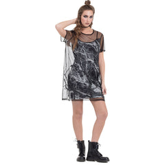 Jawbreaker Two Layered Mesh Crow Dress Black Branches Goth Punk