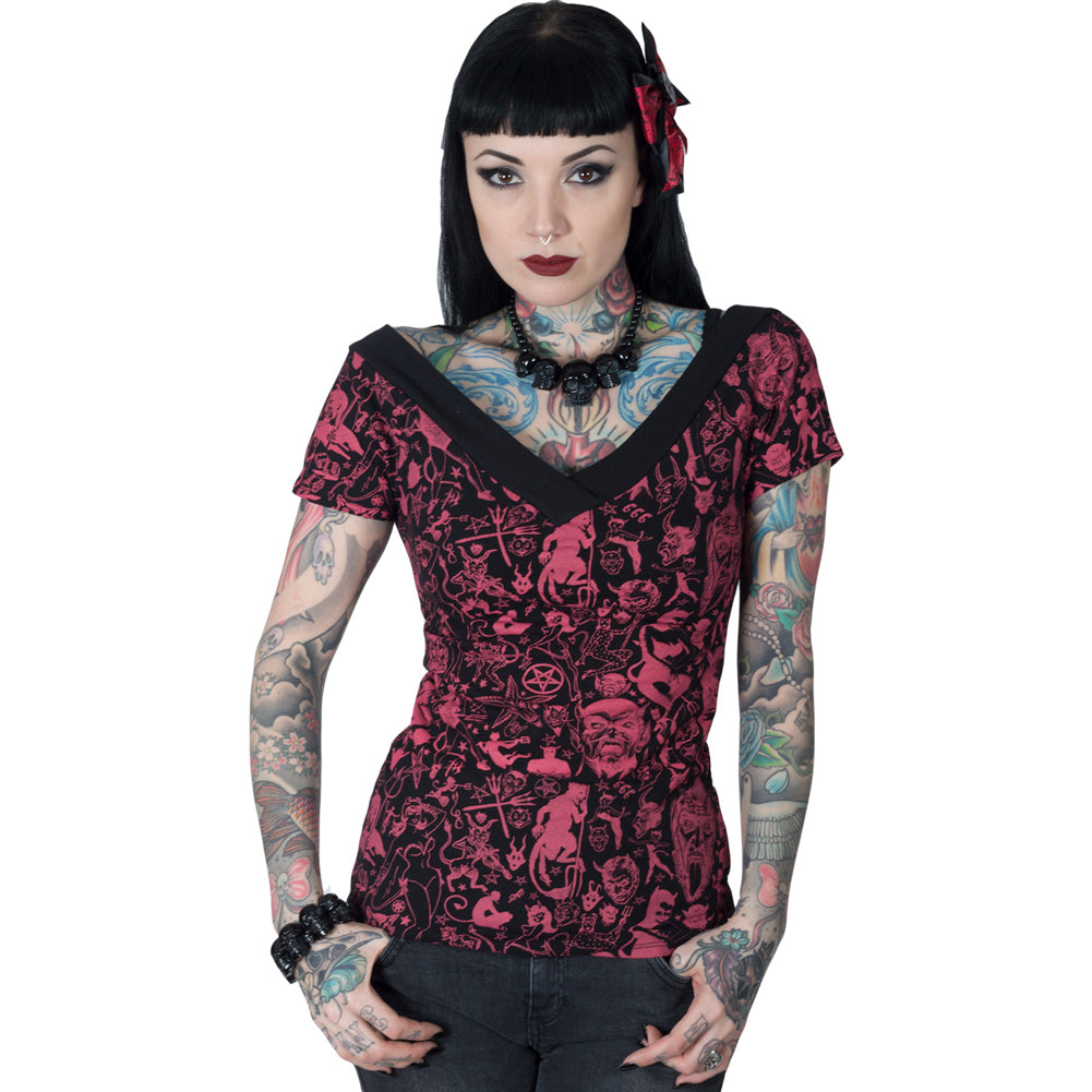 Women's Kreepsville 666 Devil Made Me Do It Black V Shoulder Top Occult Horror