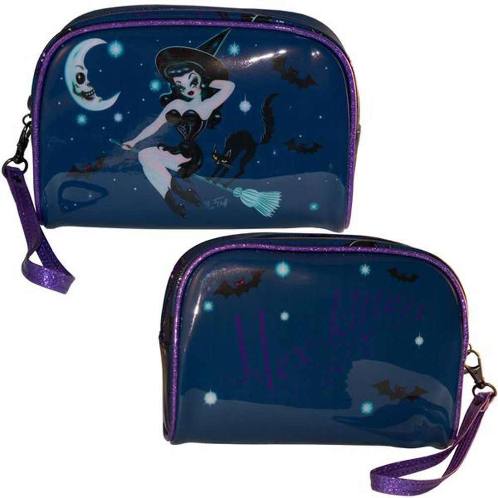 Kreepsville 666 Hex Kitten Make Up Bag Witch Pin Up Bats Halloween
