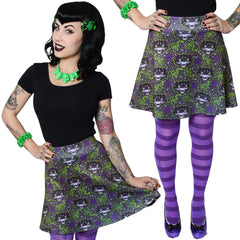 Women's Kreepsville 666 Kattitude Skater Skirt Psychobilly Black Cats