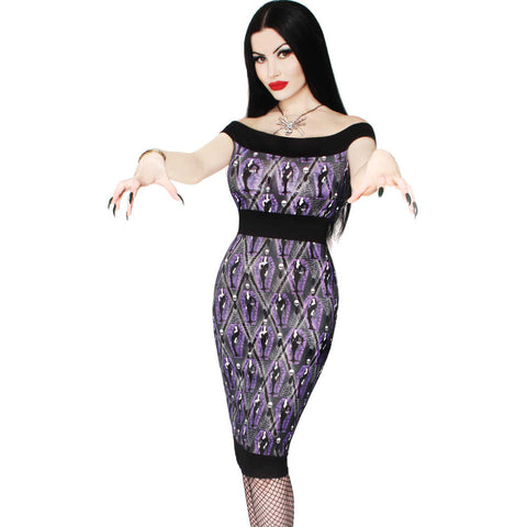 Kreepsville Vampira Arghoul Pencil Dress Psychobilly Classic Horror Spiderwebs