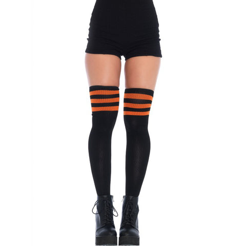 Women's Leg Avenue Athletic Thigh Socks Black/Orange Stripes