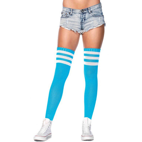 Women's Leg Avenue Athletic Thigh Socks Neon Blue/White Stripes
