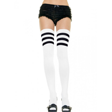 Women's Leg Avenue Athletic Thigh Socks White/Black Stripes