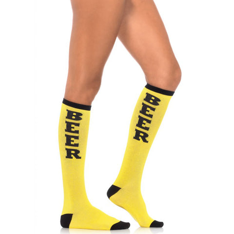 Leg Avenue Beer Run Knee Socks Yellow Funny Booze Alcohol Drinking