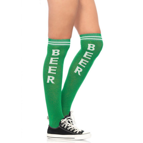 Leg Avenue Beer Time Athletic Socks Green Funny Booze Alcohol Drinking