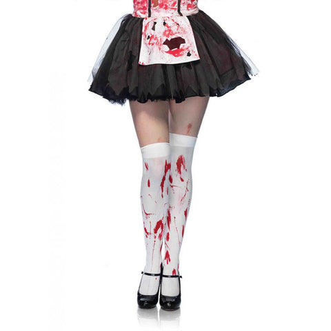 Leg Avenue Bloody Zombie Thigh Highs White/Red Horror Halloween