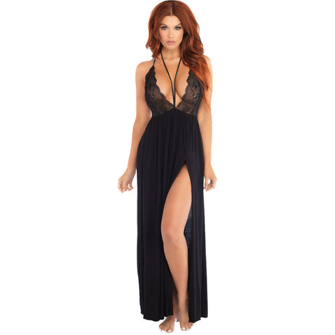 Leg Avenue Brushed Jersey Gown Black Sexy Lace Harness Detail Festival