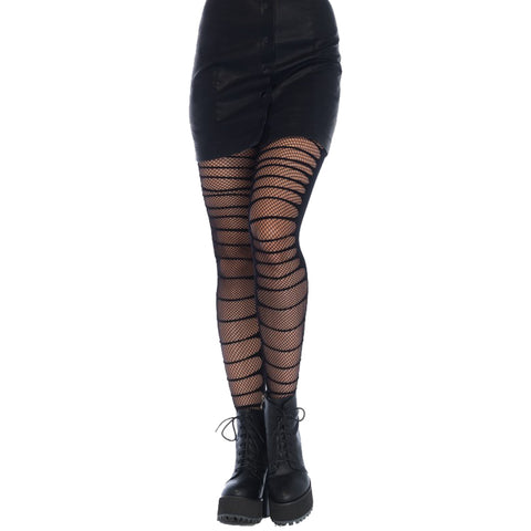 Leg Avenue Double Layer Shredded Tights Black Punk Goth