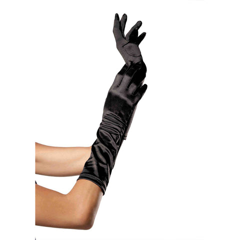 Leg Avenue Elbow Length Satin Gloves Black Evening Burlesque