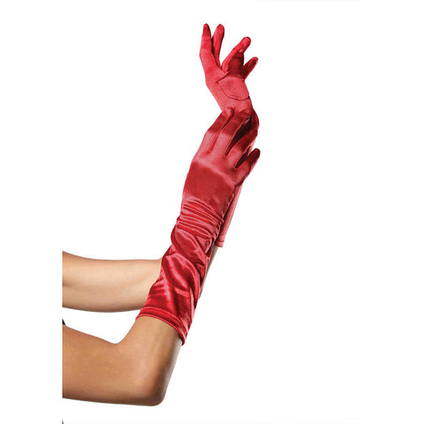 Leg Avenue Elbow Length Satin Gloves Red Evening Burlesque
