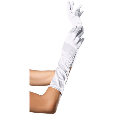 Leg Avenue Elbow Length Satin Gloves White Evening Burlesque