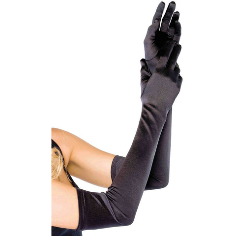 Leg Avenue Extra Long Satin Gloves Black Evening Burlesque