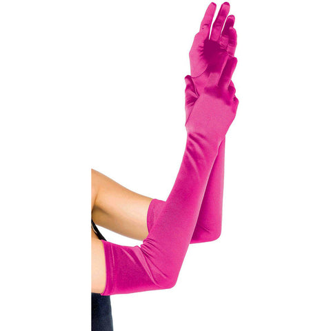 Leg Avenue Extra Long Satin Gloves Fuschia Evening Burlesque