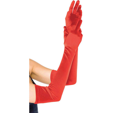 Leg Avenue Extra Long Satin Gloves Red Evening Burlesque