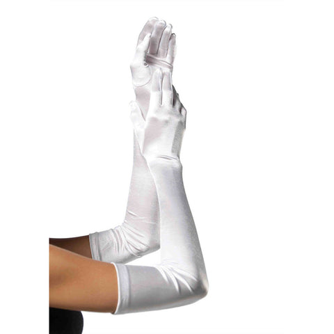 Leg Avenue Extra Long Satin Gloves White Evening Burlesque