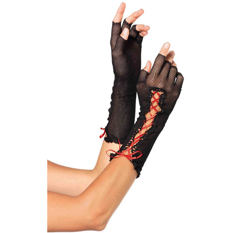 Leg Avenue Fishnet Fingerless Gloves Black/Red Corset Lace Goth Punk Halloween