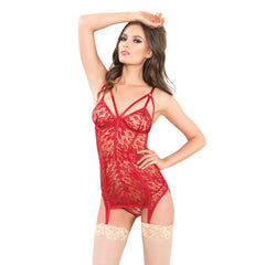 Leg Avenue Garter Dress and G-String Red Sexy Lace Cage Lingerie