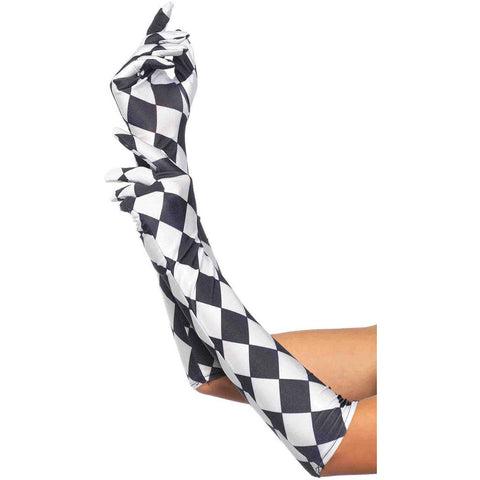 Leg Avenue Harlequin Gloves Black/White Halloween Burlesque