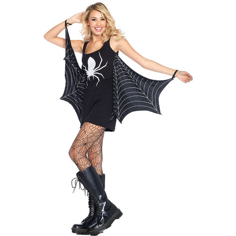 Leg Avenue Jersey Spiderweb Dress Black Halloween
